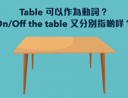 商業英語:Table 可以作為動詞?On/Off the table 又分別指啲咩?